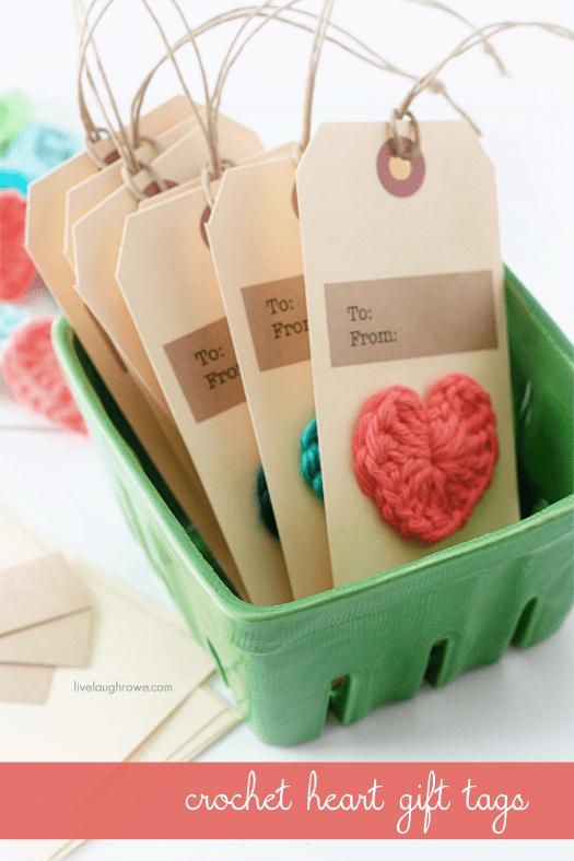 DIY Crochet Heart Gift Tags with livelaughrowe.com