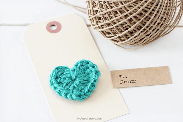 assembling the crochet heart gift tags