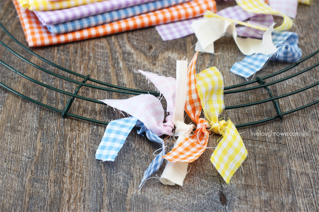 Creating your Scrap Fabric Easter Wreath with livelaughrowe.com