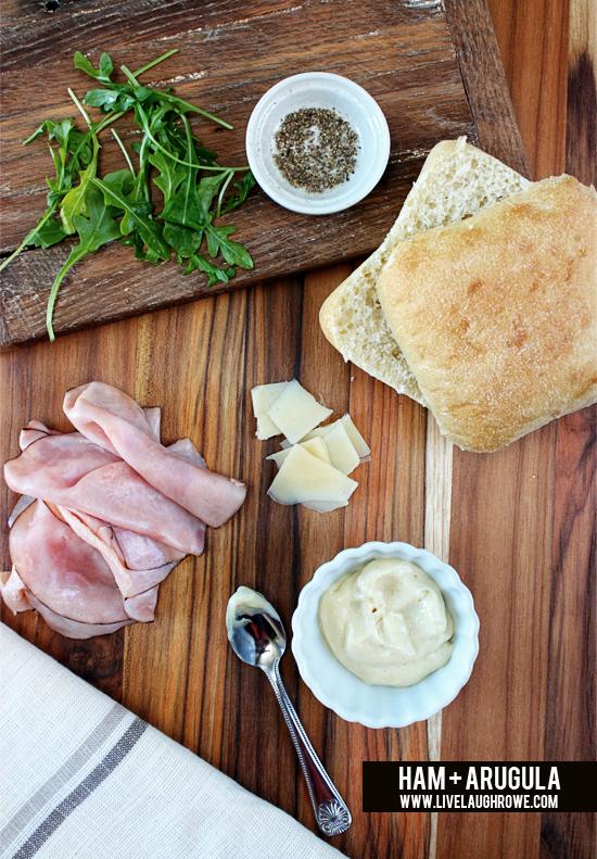 Ham and Arugula Sandwich with livelaughrowe.com