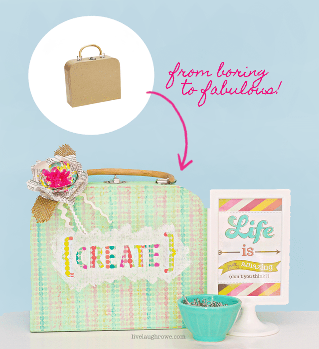 Paper Mache suitcase from boring to fabulous!