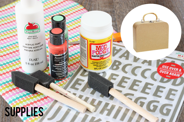Supplies for Paper Mache Suitcase using Ruby and Hazel products