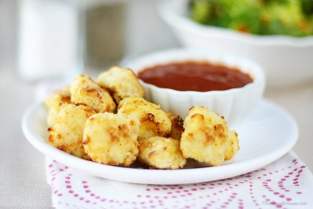 Savory and impossibly easy Parmesan Chicken Nuggets. Recipe at livelaughrowe.com #bisquick #chickennuggets