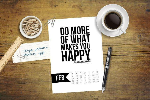 Free 5x7 Printable Calendar for February 2015 with inspirational quote!  www.livelaughrowe.com #printable #calendar
