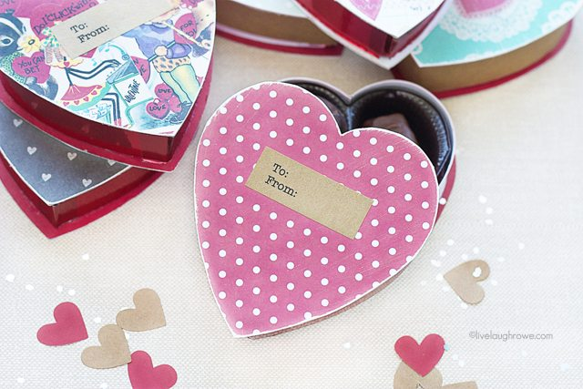 Sweet DIY Valentine Boxes. Convert a chocolate box into a great gift box, party in a box or a love note! www.livelaughrowe.com