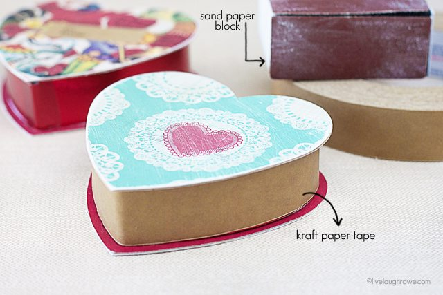 Add a vintage vibe to DIY Valentine Gift Box with sand paper and kraft paper tape!