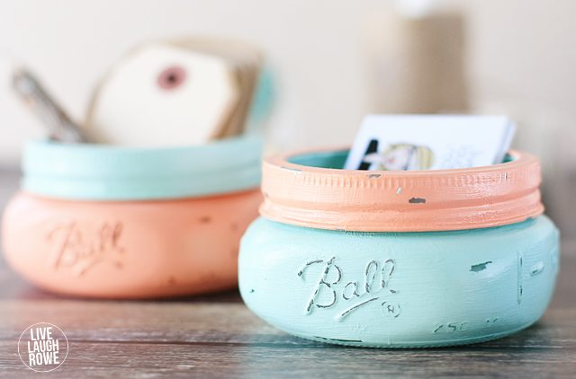 Love these sweet Mason Jar Business Card Holders!  Great gift idea too.  www.livelaughrowe.com