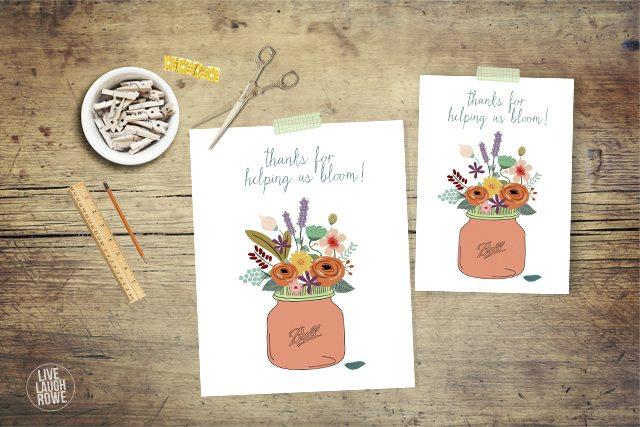 "Love this teacher appreciation printable, ""Thanks for Helping us Bloom!"" www.livelaughrow.com #teachers #printable"
