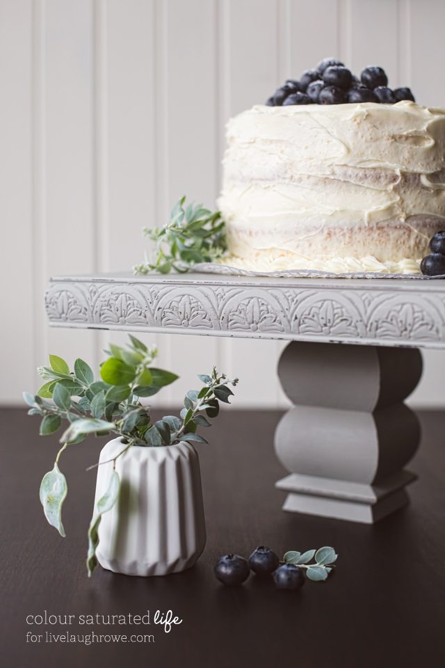 Vintage Style Cake Stand painted with Miss Mustard Seed Chalkpaint