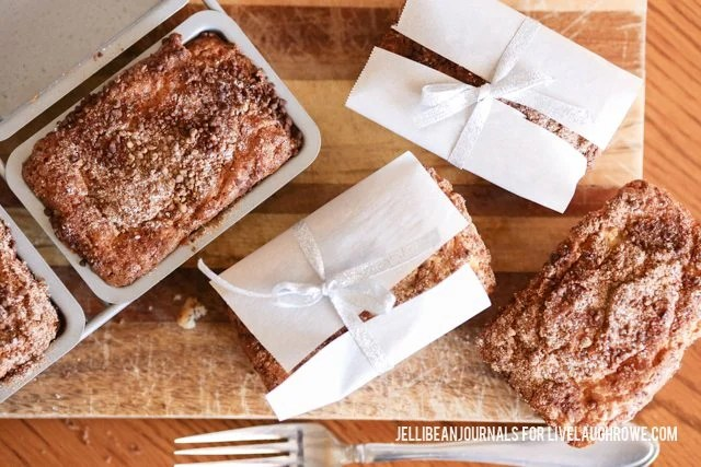 Sour Cream Coffee Cake Mini Loaves! One for your and others for sharing or gifting.