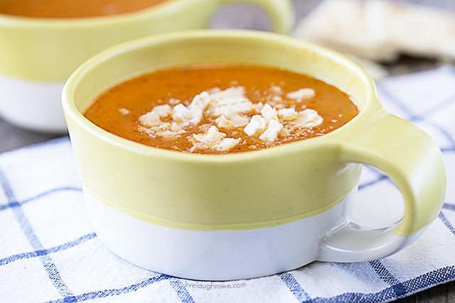 Comfort food at its best! Easy Tomato Soup Recipe that is so easy, you won't believe it. livelaughrowe.com