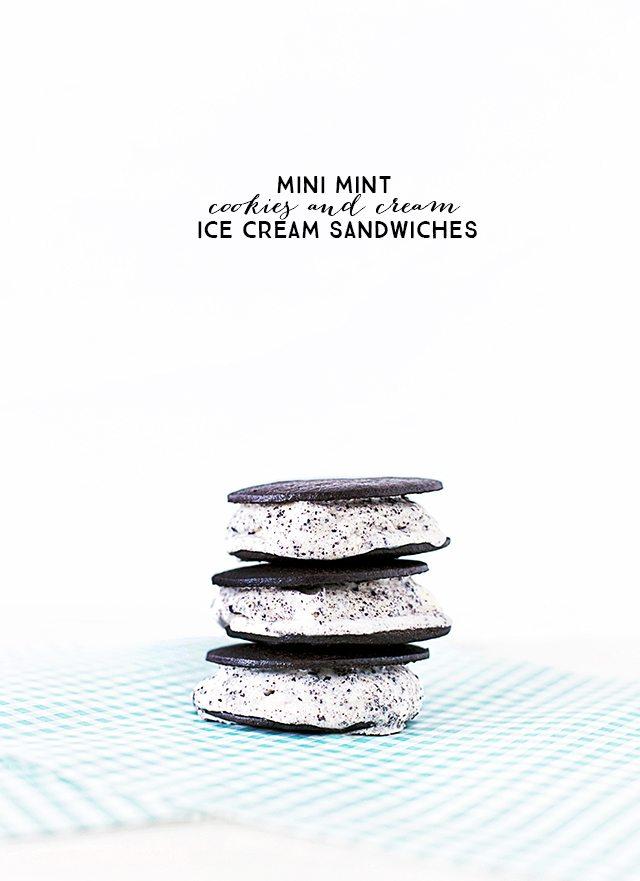 Mini Cookies and Cream Ice Cream Sandwiches. Weight Watchers Dessert