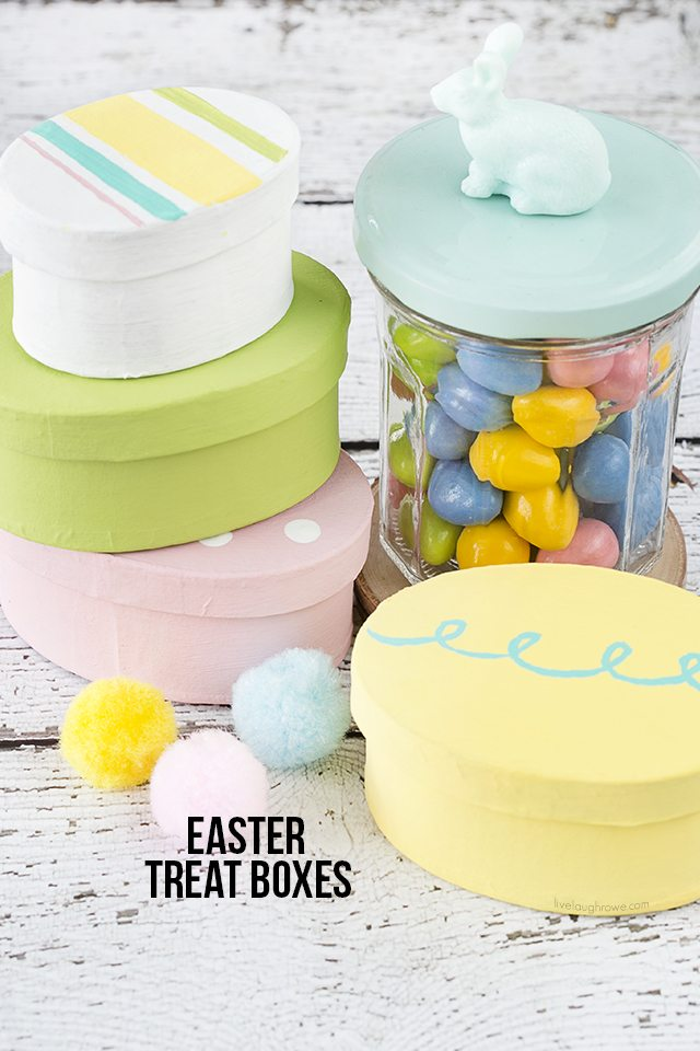 These Easter Gift Boxes are colorful and perfect for gifting a sweet treat or toy! From a simple oval paper mache box to a festive treat box. Tutorial at livelaughrowe.com