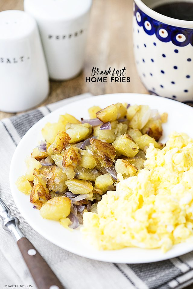 A delicious breakfast home fries recipe that is perfectly crunchy! Great on its own or as a side dish. livelaughrowe.com