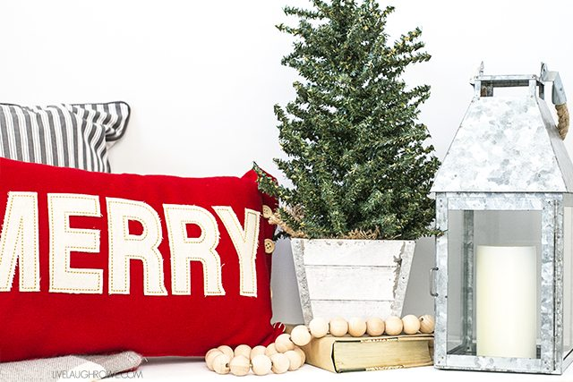 Beautiful and Simple Holiday Farmhouse Entryway -- loving the white and red with hints of gray. livelaughrowe.com