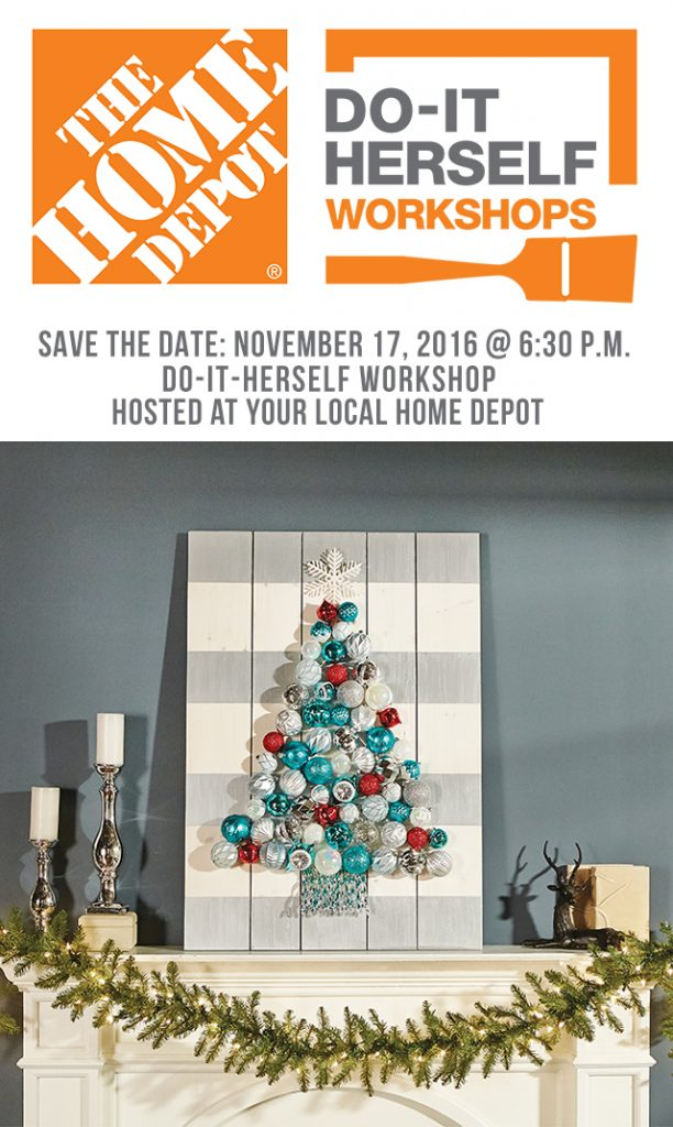 Sign up today for the November 2016 DIH Workshop at your local Home Depot and make this Holiday Ornament Display. www.livelaughrowe.com #DIHWorkshop