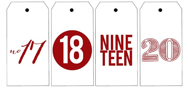 Printable number tags for your Advent Calendar this year. livelaughrowe.com