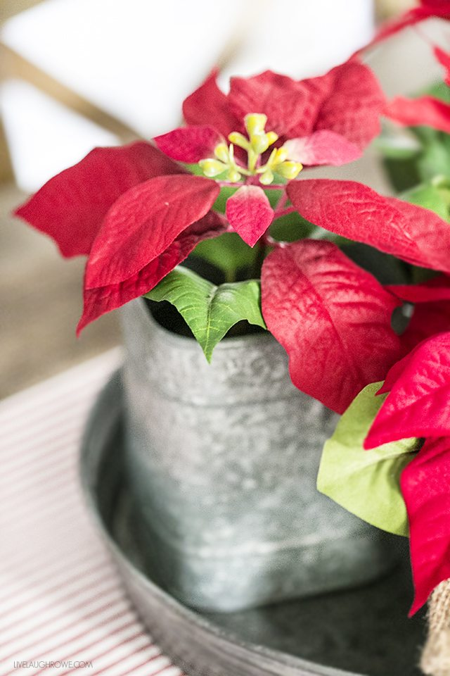 Beautiful vintage inspired Christmas Dining Room decor! The poinsettia arrangement in the galvanized tray is so unique. livelaughrowe.com