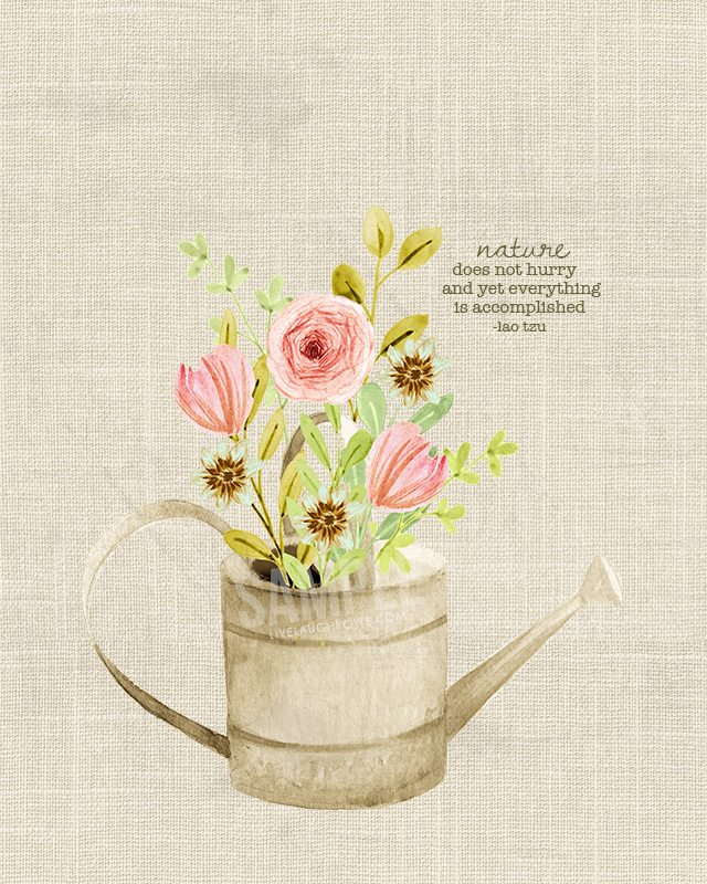 Spring Flowers Printable Wall Art with a worn, rustic feel. livelaughrowe.com