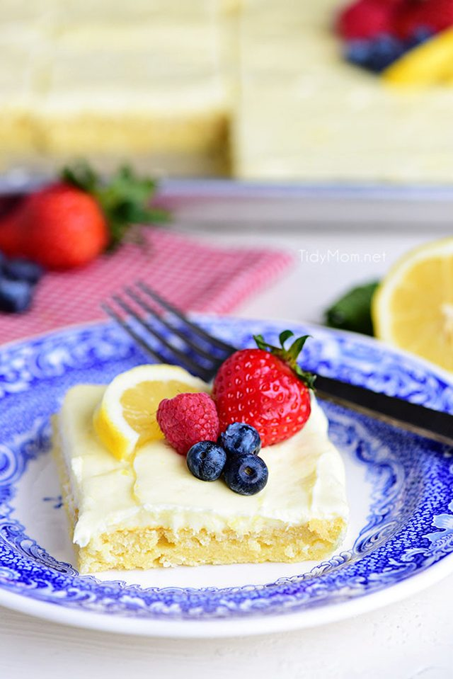 This no-fusslemon sheet cake is super moist and makes a wonderful spring or summer dessert that easily feeds a crowd. It may not be a fancy cake, but each slice is pure lemon bliss!