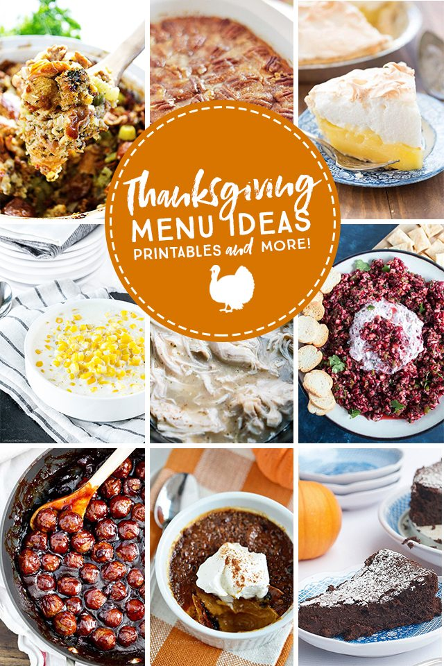 Thanksgiving Menu Ideas PLUS decor and free printables too! Find all of this festive inspiration at livelaughrowe.com