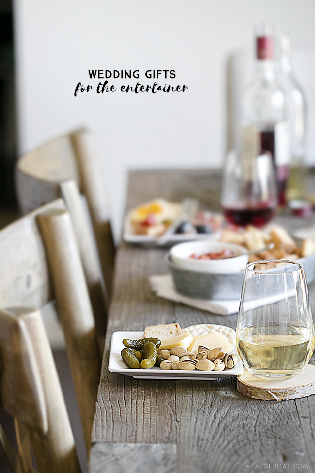 Wedding gifts for the entertainer -- featuring a charcuterie board cocktail party! Gifts that will help you, or the bride-to-be, become the hostess with the mostest! See more at livelaughrowe.com