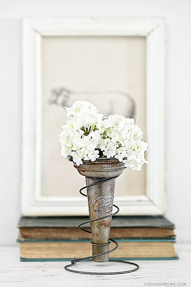 It's possible to take junk and turn it into something pretty fabulous (aka trash to treasure). Using a rusty old bed spring and a vintage oil pour spout, I created a vase holder! It makes a great decorative piece or a centerpiece. Read more at livelaughrowe.com
