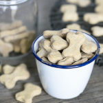 Quick and Easy Homemade Peanut Butter Dog Treats using four ingredients you already have on hand. Be prepared for your dog(s) to start begging for more! Recipe at livelaughrowe.com