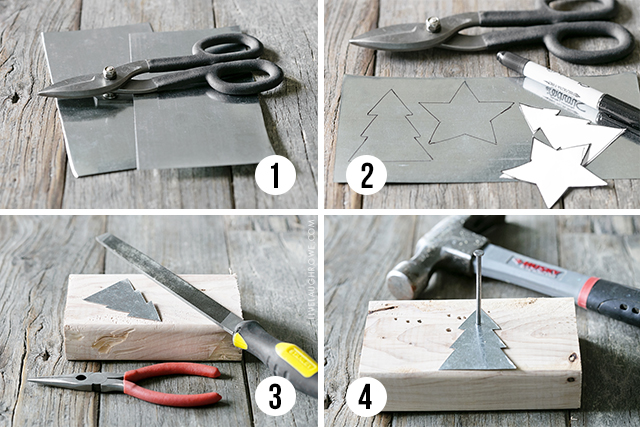 Step by Step Instructions on how to make these rusty metal ornaments using flashing. More at livelaughrowe.com