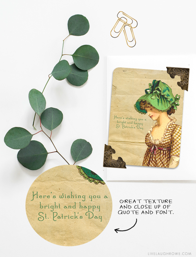 Vintage inspired St. Patrick's Day Cards that are great for journaling, place settings and/or gift tags! What are you waiting for? Head to livelaughrowe.com and print yourself a set!