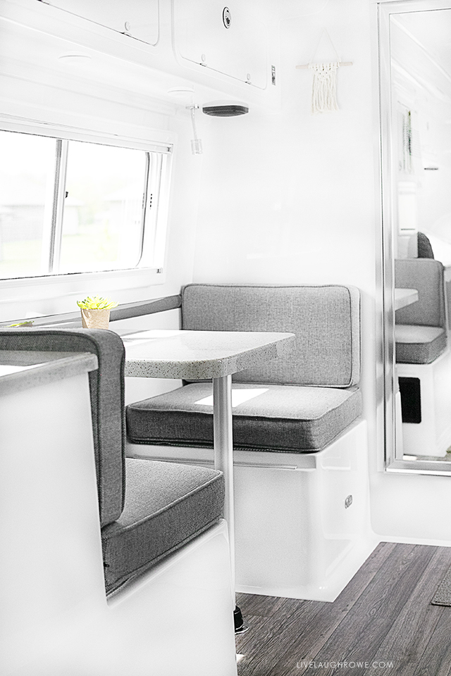 Take a look at our Oliver Travel Trailer, a high quality fiberglass trailer that we recently purchased! It's built for use in all four seasons as well. This is the dinette area! More at livelaughrowe.com