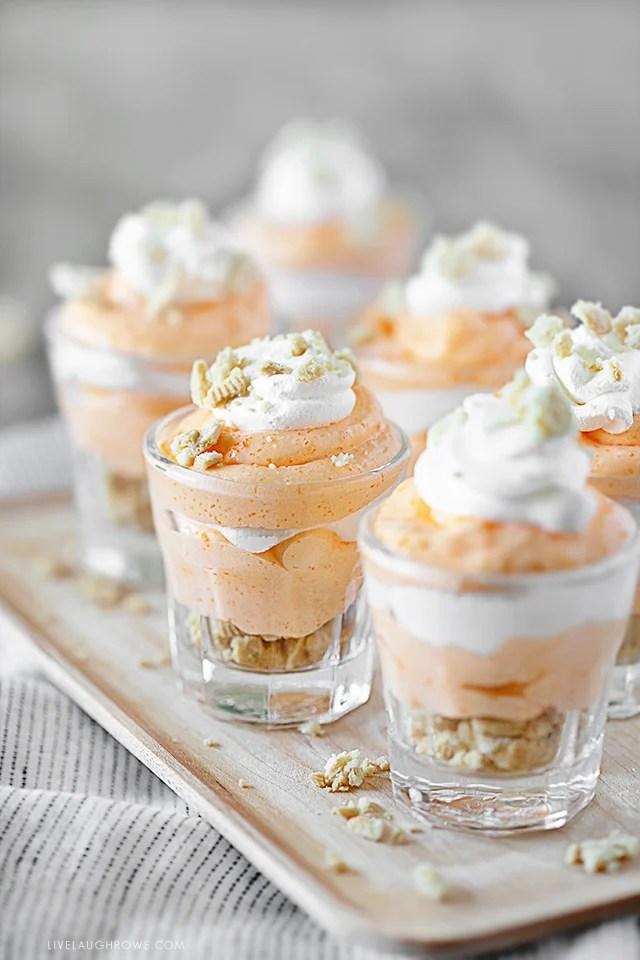 Orange Creamsicle Pudding Shots in Shot Glasses
