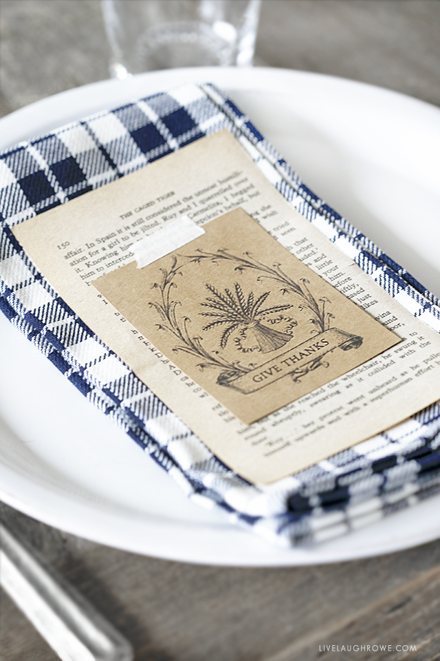 Printable Place Card on Gingham Napkin