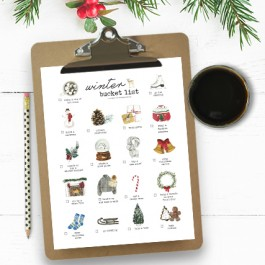 Printable on Clipboard and Cup of Coffee