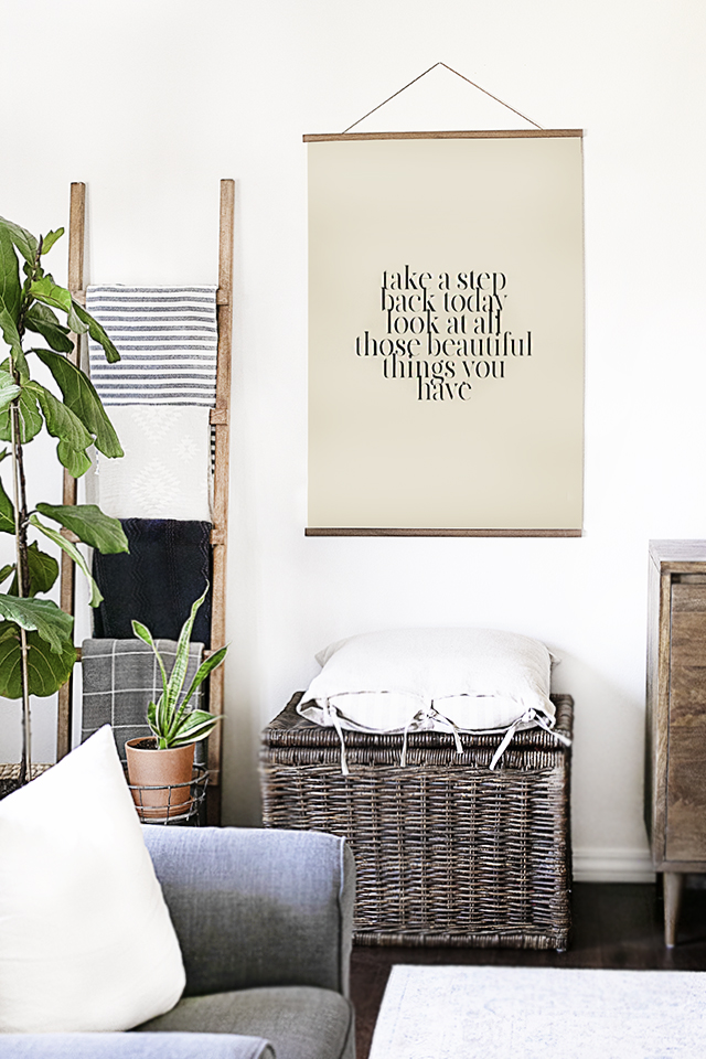 Quote Poster Hanging in Living Room