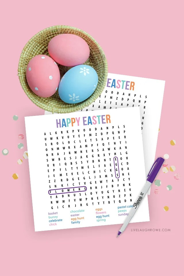 Easter Word Search with Marker
