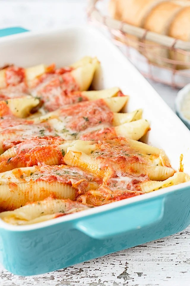 Pan of Stuffed Shells. Meal that freezes well.
