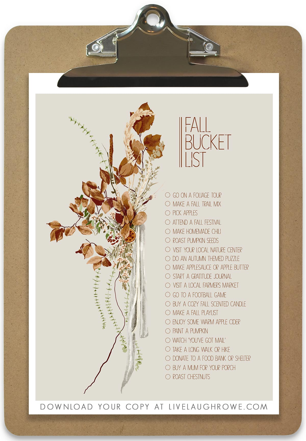 Fall Print on Clipboard