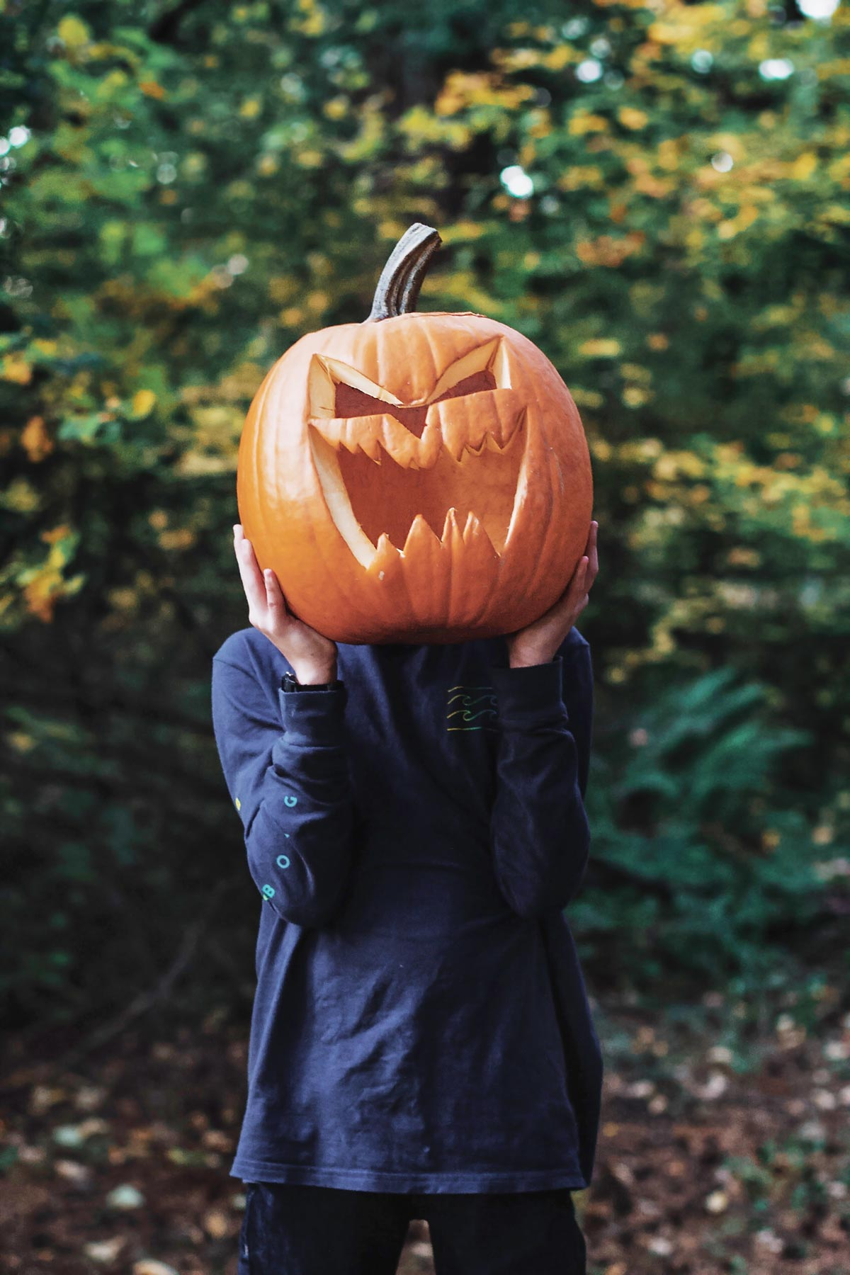 Child Holding a Carved Pumpkin