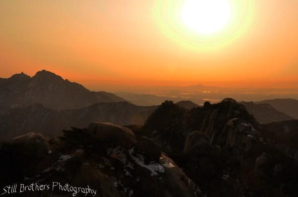 Setting sun in Bukansan National Park 1