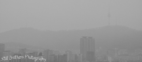 A hazy view of Namsan Tower