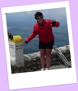 Alison at the top of Mt. Ventoux.