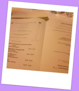 Menu with our selections