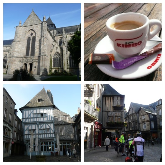 From L clockwise - Saint Malo Church; chocolat chaud at Le Duclos; cyclists!; pretty half-timbered buildings;