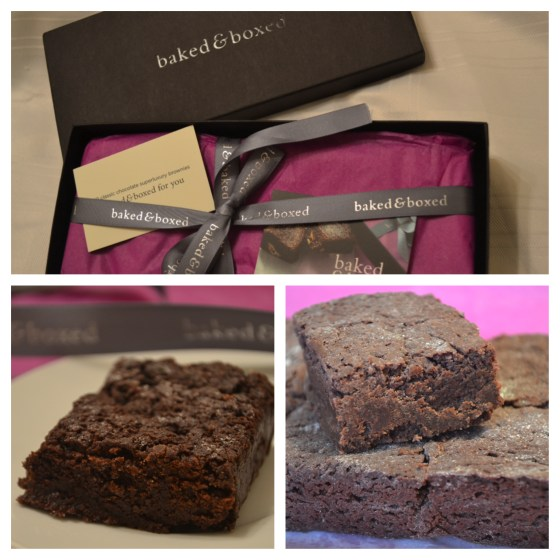 Beautifully presented Baked & Boxed chocolate brownies.