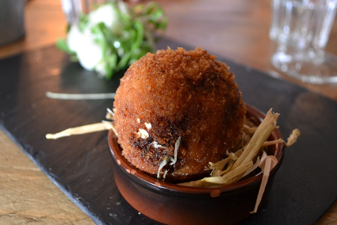 The Richmond Arms, West Ashling, West Sussex, country pub, home-made ice-cream, earl grey ice-cream, liquorice ice-cream, rose pistachio, pulled lamb shoulder, chorizo scotch egg, wood roast sweet potato,
