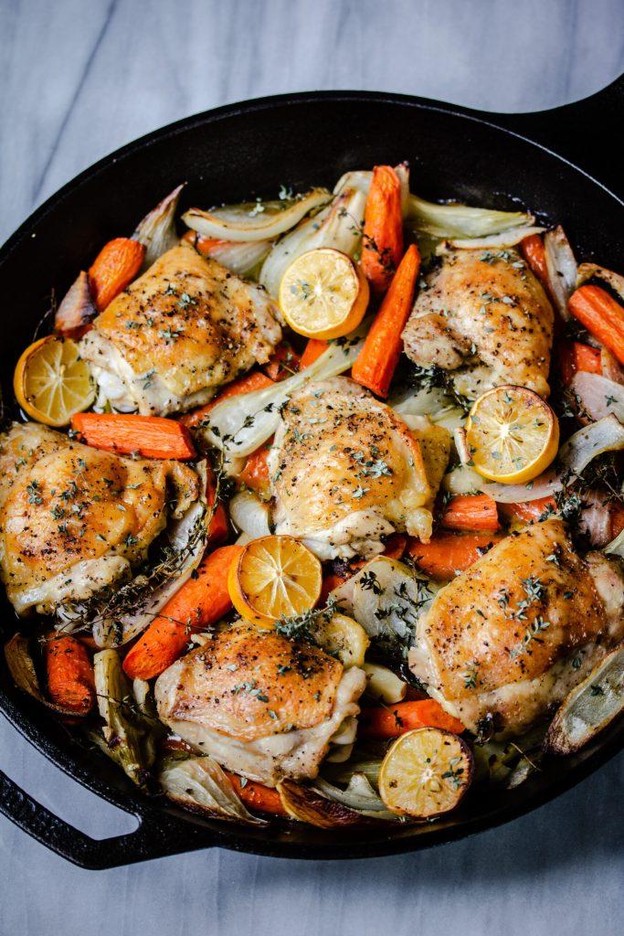 Roast chicken thighs in pan
