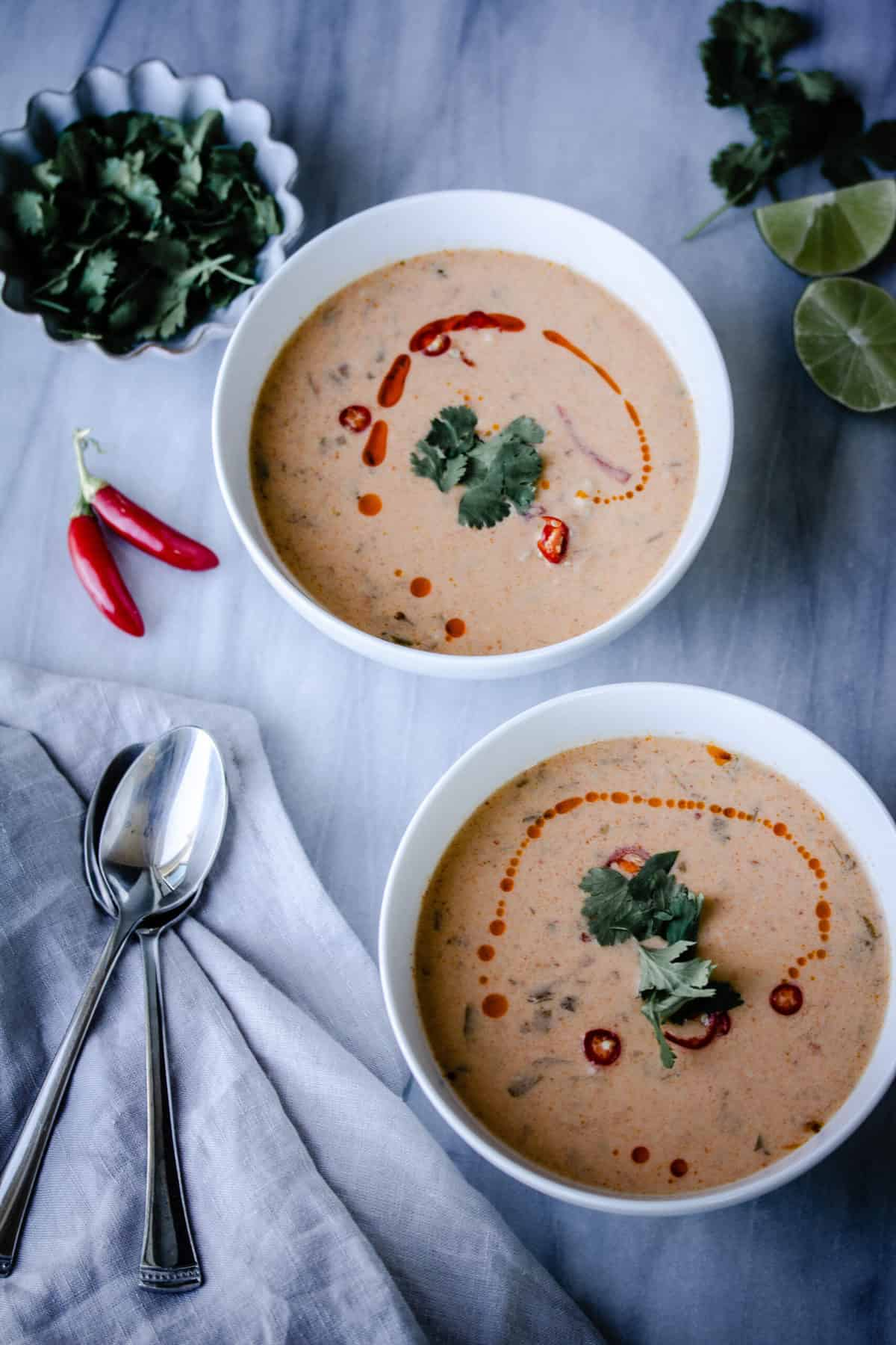 Thai Curry Soup in bowls