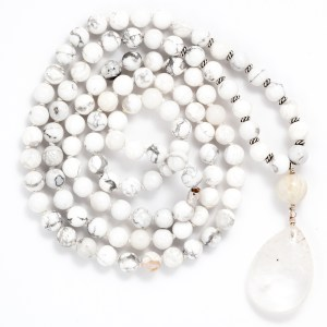 Howlite & Clear Quartz Mala