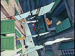 アニメ-ヨーロッパで洗濯を干す風景